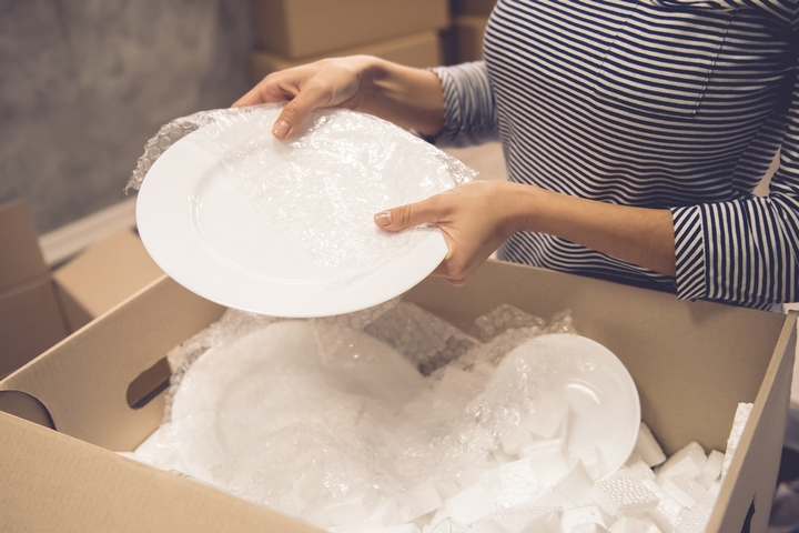 Use bubble wrap to pack your storage boxes with care.