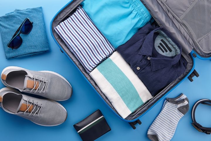 Use suitcases, backpacks and duffle bags to pack some clothes.